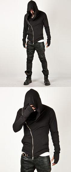 Unbeatable Arm Warmer Diagonal Zip Up Hoodie Charcoal - Jackets & Outerwear   RebelsMarket