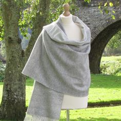 Color: Grey with reversible White and Cream rolled fringe..This shawl is made from 100% soft Lambswool.Made in Ireland