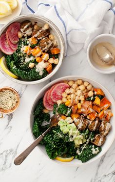 From spicy ginger kale to citrus and salmon, treat your taste buds to these vibrant salad bowls for a spring detox
