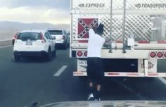 Man rips Confederate flag off semi truck -- in middle of moving traffic...