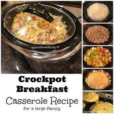 Crockpot Breakfast Casserole Recipe for a Large Family - iSaveA2Z.com #crockpotbreakfastcasserole