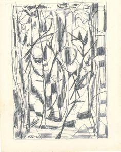 E. Besozzi pitt. 1956 Composizione biro su carta cm 16,4x13 arc. 598