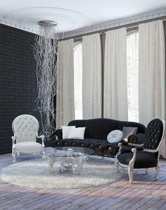 minimalist-home-interior-by-Mila-Kolpakova Minimalist Home Interior, Home Interior Design, Minimalism, Curtains, Pure Products, Living Room, Simple, Inspiration, Furniture