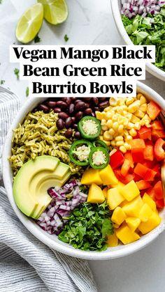 Vegan Bowl Recipes, Mexican Food Recipes, Real Food Recipes, Vegetarian Recipes, Dinner Recipes, Vegetarian Rice Bowl Recipe, Cooking Recipes, Healthy Recipes, Veggie Bowl Recipe