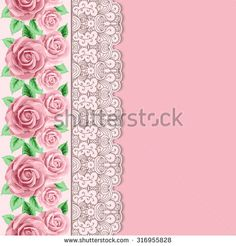 Background with hand drawn roses and lace border in retro style. Greeting card, invitation template. Vector illustration - stock vector