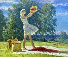 """Ларичев Михаил Алексеевич (1921-1995) «На ветреном угоре» 1973 Larichev Mikhail """"On the windy eel"""""""