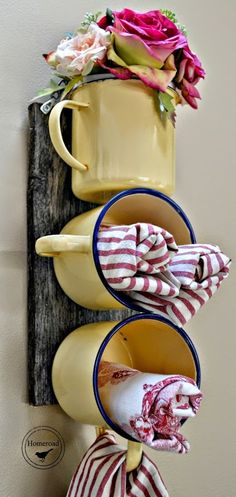 Kitchen Decorating DIY Enamel Mug Organizer by Homeroad, 20 DIY Farmhouse Projects via A Blissful Nest - This post is full of rustic and weathered looks! Farmhouse decor is beautiful. Let these 20 DIY Farmhouse Projects inspire you to do your own! Farmhouse Style Decorating, Farmhouse Decor, Farmhouse Ideas, Decorating Kitchen, Modern Farmhouse, Country Farmhouse, Country Kitchen, Country Entryway, Kitchen Rustic