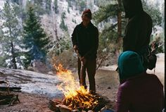 Chilly morning in the mountains... -(campfire, backpacking, hiking, woodsy, outdoors, adventure)