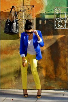 Discover this look wearing Yellow JC Penney Jeans, Blue Zara Blazers - Yellow Jeans by FlordeMariaFashion styled for Chic, Everyday in the Summer Yellow Pants Outfit, Yellow Jeans, Yellow Blazer, Casual Wear, Casual Outfits, Cute Outfits, Vestidos Azul Royal, Royal Blue Blazers, Look Blazer