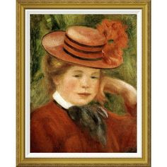 Global Gallery 'Girl with a Red Hat' by Pierre-Auguste Renoir Framed Painting Print Size: