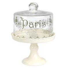 Bάση για cake με γυάλινο καπάκι και τύπωμα Paris
