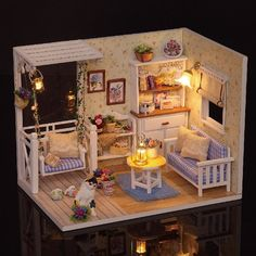 Miniature Dollhouse DIY Kit Kitten Diary Room with by SimpleSmart
