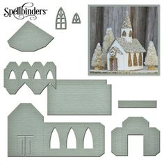 HixxySoft Spellbinders A Gilded Life Beacon St Chapel Die Set Christmas Villages, Christmas Village Houses, Putz Houses, Fairy Houses, Pap… Christmas Village Houses, Putz Houses, Christmas Villages, Fairy Houses, Christmas Paper, Christmas Projects, Christmas Home, Holiday Crafts, Miniature Christmas