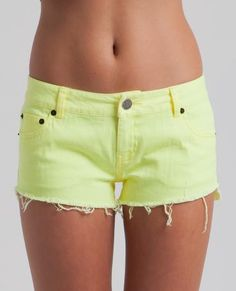 NEON MINI SHORT // fluro yellow -  Every girl needs a pair of cutoff denim shorts this year especially when they come in these great colors!