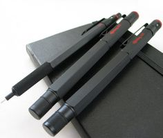 "Rotring 600 series, ""old style"", black: mechanical pencil, rollerball, fountain pen. I had a set like this back in my design days. Rotring 600, Rotring Pens, Pen Design, Gadgets, Pens And Pencils, Rollerball Pen, Mechanical Pencils, Pen And Paper, Writing Instruments"