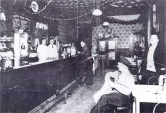Hasenour's Cafeteria, Floyd and Breckinridge Streets, Louisville, Ky., Ed Hasenour is bartender on the right  with black tie. 1934