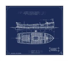 TROWBRIDGE - Simpson Blue Motorboats - This collection of four highly detailed design blueprints for Simpson Motorboats was found in a New York fleamarket. These giclee reproductions of the originals are printed on fine art Somerset Velvet watercolour paper. These images are also available in sepia printed on aged antique watercolour paper with a hand deckled edge - see link. in Silver Leaf Mirror (Frame Code: 965)