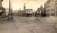 Very cool 1910 photo of W. Burnside looking east from 19th Avenue through the intersection at 18th; Alder angles off to the right. Burnside was actually Washington Street at this time; Burnside ended where Washington angled in from the east, and Washington continued on to 23rd where it became Barnes Road. A number of buildings seen here are still around. W Burnside and SW Washington at 19th east 1910