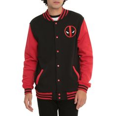 Marvel Deadpool Varsity Jacket | Hot Topic ($45) ❤ liked on Polyvore featuring outerwear, jackets, teddy jacket, varsity style jacket, college jacket, varsity jacket and varsity bomber jacket