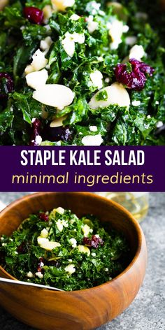 Our staple kale salad has feta cheese, dried cranberries, sliced almonds and a tangy lemon vinaigrette. It's simple, but so tasty, and the recipe we turn to in a pinch. #sweetpeasandsaffron #holiday #salad #kale #glutenfree #cleaneating #thanksgiving Vegetarian Meal Prep, Lunch Meal Prep, Vegetarian Recipes, Kale Salad Recipes, Lunch Recipes, Saffron Recipes, Slow Cooker Freezer Meals, Cranberry Cheese, Lemon Vinaigrette