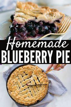 Healthy Blueberry Desserts, Fresh Blueberry Pie, Homemade Blueberry Pie, Blueberry Pie Recipes, Strawberry Desserts, Tart Recipes, Best Dessert Recipes, Desert Recipes, Blueberry Crumble