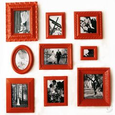 Looking for a creative and inexpensive way to display your wedding photos? Check out this DIY photo frame project. Red Picture Frames, Painted Picture Frames, Black Frames, Diy Foto, Foto Fun, Easy Home Decor, Cheap Home Decor, Red Home Decor, Red Pictures