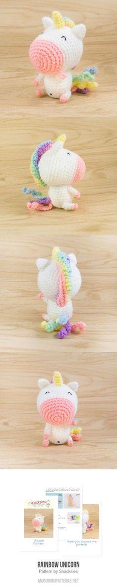 Rainbow Unicorn Amigurumi Pattern - The Crocheting Place Cute Crochet, Crochet Crafts, Yarn Crafts, Crochet Baby, Diy Crafts, Crochet Patterns Amigurumi, Crochet Dolls, Knitting Patterns, Cat Amigurumi