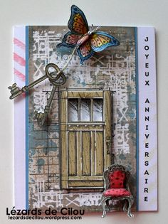 A grungier look using SU products C'est Parti, In This World, Paper Glue, Stampin Up Catalog, Stamping Up, Card Making, Greeting Cards, Butterfly, Frame
