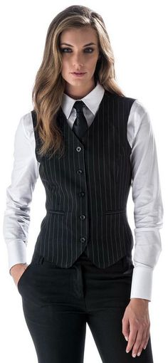 Girl Dressed In New Work Uniform With White Shirt Black Tie And Vest. Women in menswear Androgynous Fashion, Tomboy Fashion, Suit Fashion, Fashion Outfits, Fashion Black, Mode Outfits, Office Outfits, Casual Outfits, White Shirt Black Tie