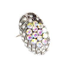 Pierścionek Vintage z Tęczowymi Kryształkami Owal #ring #vintage #pierscionek