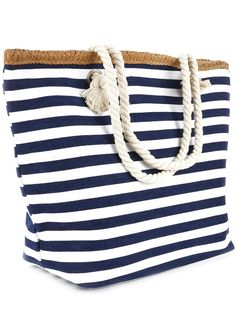 """- Imported - Material: cotton blend - Polyester lining, zipper closure on top - 8"""" shoulder drop - Straw trim - Size: 18"""" x 12"""" x 6 Must have nautical Navy Striped tote bag! Adorable navy and white st"""