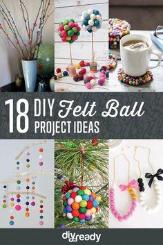 DIY Felt Ball Project Ideas by DIY Ready at http://diyready.com/diy-projects-with-felt-balls/ 