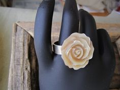 Sterling Silver Ring with Mother of Pearl Rose by BijouxEmmElle, $49.00
