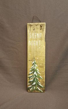 GIFTS UNDER 20, Christmas Winter Reclaimed Wood Pallet Art, Silent Night, Hand painted Pine tree,Christmas decorations, upcycled shabby chic