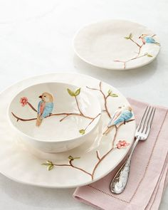 Nature-inspired dinnerware features a subtle, raised pattern of birds on branches beautifully enhanced with soft color. - Colored Bird on Branch Dinnerware Service Ceramic Painting, Ceramic Art, Design Vitrail, Sculptures Céramiques, Bird On Branch, Dinnerware Sets, Bone China Dinnerware, Deco Table, Dinner Sets