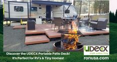 The UDECX portable patio deck is a perfect addition for RV's and Tiny Homes. It is an easy DIY deck that can be installed in just a very short time. #camper #motorhomes #campertrailer #rvs #tinyhomes