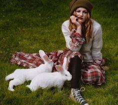 Drew with bunnies by Alasdair Mclellan