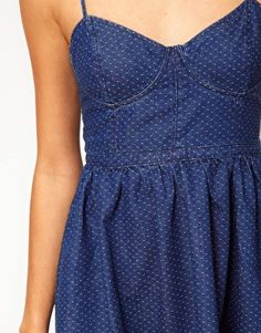 Enlarge Free People Dot Denim Bustier Dress