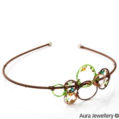 Green Brown Handcrafted Swarovski Crystal Beaded Wire Wrapped Hair Band