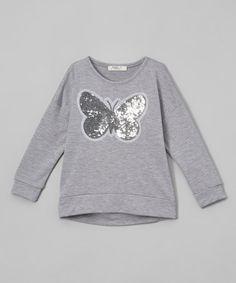 This Hunter Gray Butterfly Sweatshirt - Toddler & Girls is perfect! #zulilyfinds
