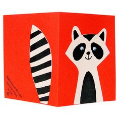 adorable hand-printed raccoon card by Lisa Jones. Just a cute way to say hello!