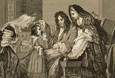 Louis XIV on his deathbed, with Madame de Maintenon at his side, giving his blessing to his great grandson Louis XIV on 1 September 1715, 18th century engraving, French school