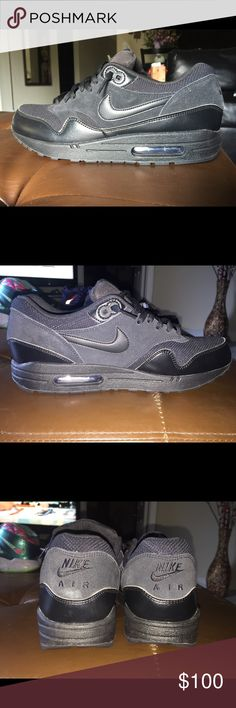 NIKE AIRMAX 1 ESSENTIAL triple black suede leather NIKE AIRMAX 1 ESSENTIAL triple black suede leather             DS - NWOT - NO BOX Nike Shoes Sneakers