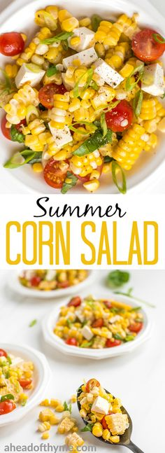 Take fresh-off-the-grill corn on the cob and turn it into a light, flavourful summer corn salad, topped with tomatoes, scallions and cheese. This is the side dish your cookouts have been missing! | aheadofthyme.com #corn #cornonthecob #cornsalad #vegetarian #salad via @aheadofthyme