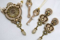 SALE 30 OFF  Soutache Pendant and Earrings / beige by BeadsRainbow, €115.00