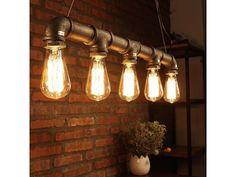 Závěsné retro svítidlo z trubek, 5 žárovek. Svítidlo z vodovodních trubek v barvě bronzu, pro 5 retro žárovek s paticí E27. Originální osvětlení s kombinací retro žárovek z naší nabídky.