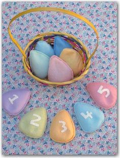 These are great alternatives for chocolate! Easter egg bean bags made from felt