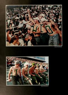 Athena Yearbook, 2000. Two different groups of guys paint their chests and stomachs to support Ohio University at the football games. :: Ohio University Archives