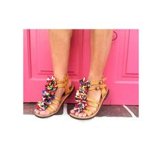 RiRiPoM, Kourelou, Hippie chic sandals, Boho sandals, Gladiator... (€129) via Polyvore featuring shoes, sandals, colorful shoes, colorful sandals, boho sandals, greek sandals and leather hippie sandals