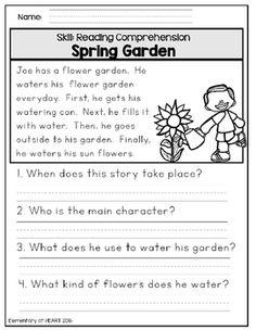 Reading Comprehension Printable Worksheets- Spring